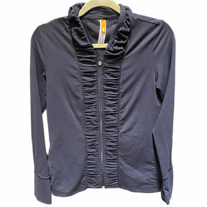 Lucy Athleisure Ruched Gathered Black Jacket SM